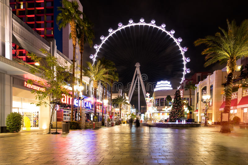 The High Roller Ferris Wheel at The Linq Hotel and Casino at night - Las Vegas, Nevada, USA royalty free stock photography