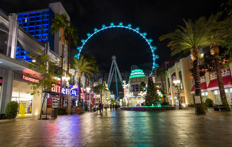 The High Roller Ferris Wheel at The Linq Hotel and Casino at night - Las Vegas, Nevada, USA royalty free stock image