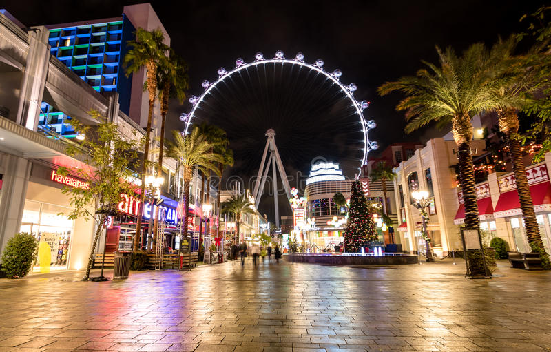 The High Roller Ferris Wheel at The Linq Hotel and Casino at night - Las Vegas, Nevada, USA royalty free stock photo