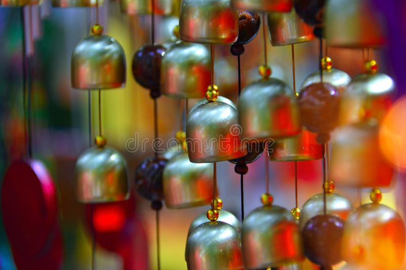 Colored glass, and copper wind chime. High ropes in an adult adventure park where people play sports and relax stock images