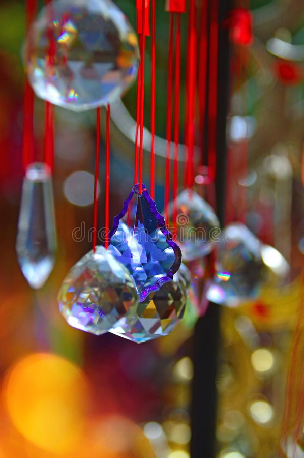 Colored glass, and copper wind chime. High ropes in an adult adventure park where people play sports and relax stock photo