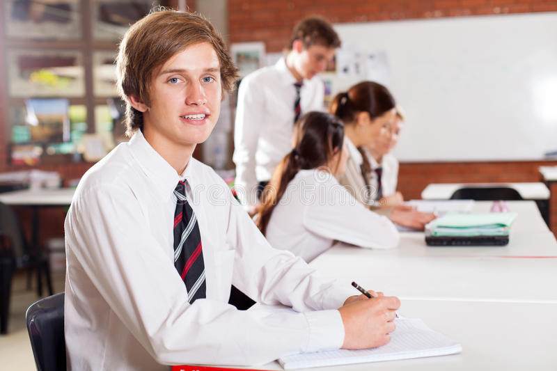 High school boy stock image
