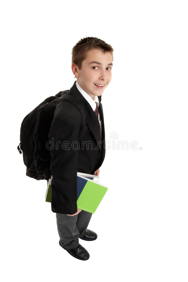 High school boy with backpack bag royalty free stock photography