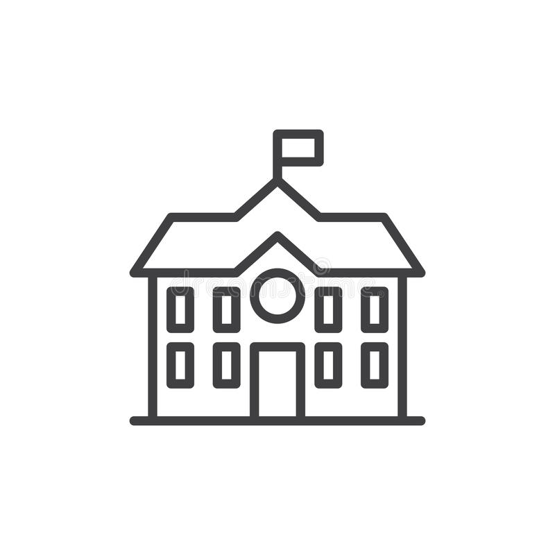 High school building line icon royalty free illustration