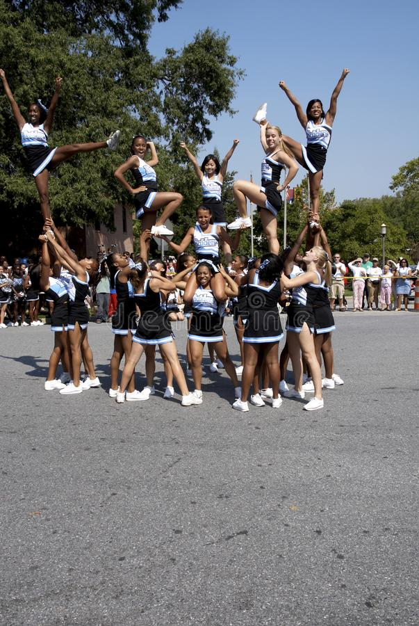 High school cheerleaders perform. At Labor Day Festival and parade in Greenbelt, Maryland stock image