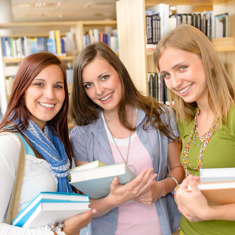 high school classmates with library books stock photo image of