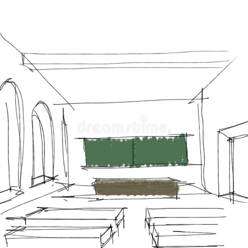Classroom Design Sketch ~ High school classroom stock illustration of