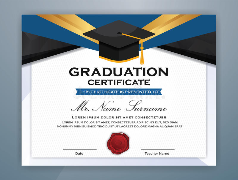 High School Diploma Certificate Template Stock Vector  Illustration