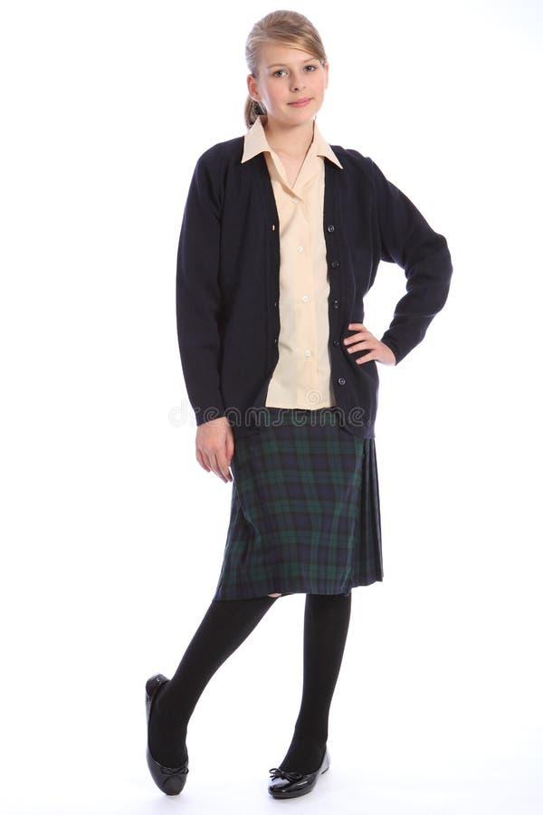 High school education blonde girl in uniform royalty free stock photos