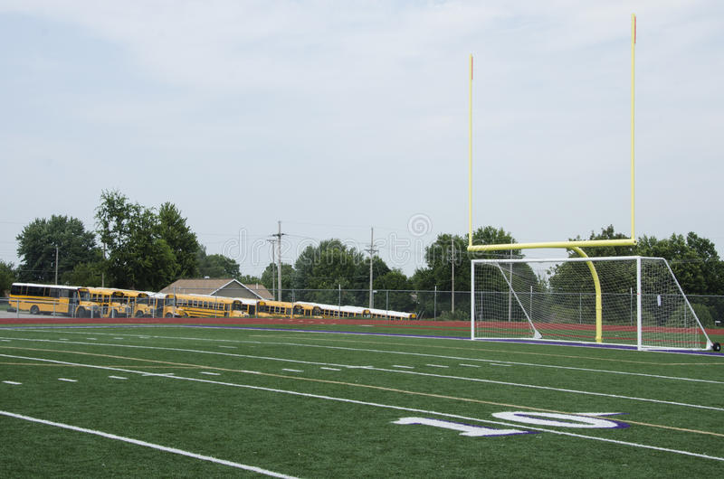 High School Football field. At the 10 yard line showing the Goals stock photos