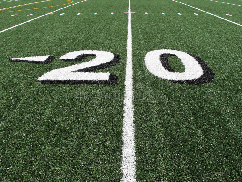 High School Football Field Yardage Marker royalty free stock image