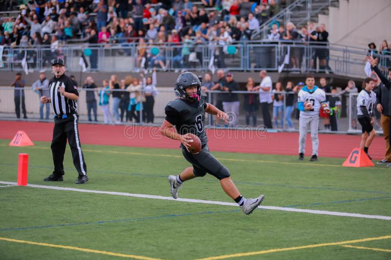 High school football player touchdown royalty free stock photos