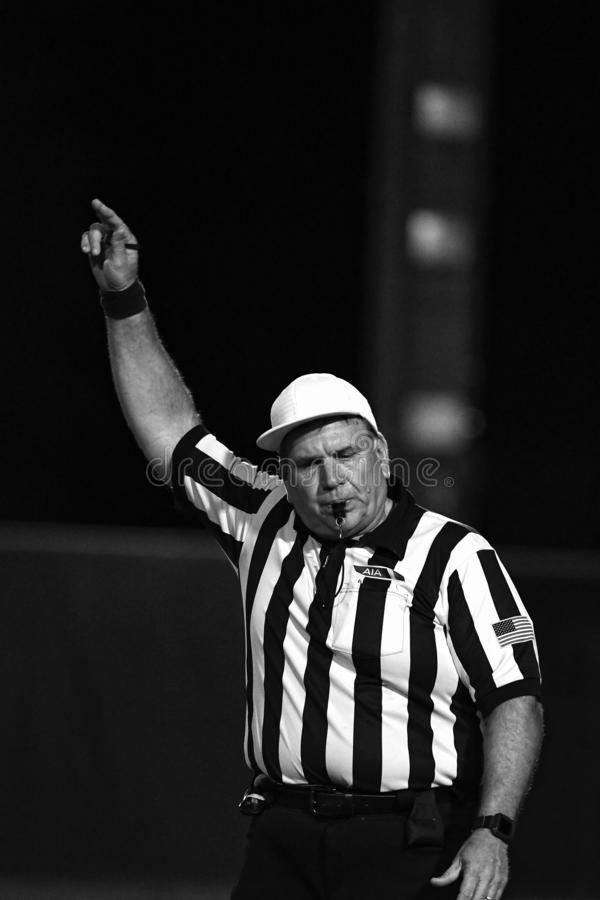 High School Football Referees. High School Referees team working in Chandler Arizona during a game stock images