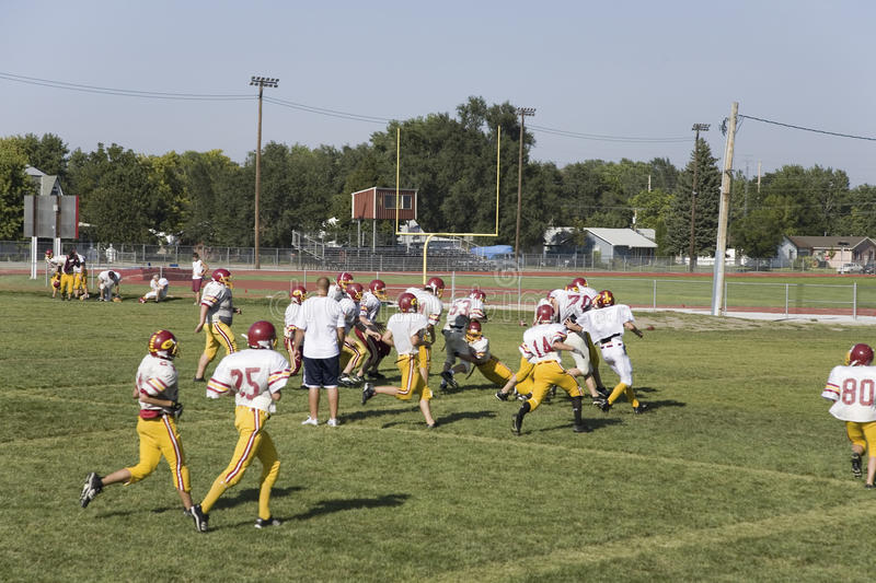 High school football team practicing. In 110 degree heat at Gothenburg, Nebraska, along old Lincoln Highway, US 31 royalty free stock photos