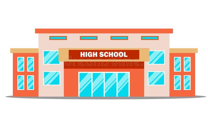 High School Gebäude-Vektor klassisch Lokalisierte flache Karikaturillustration vektor abbildung