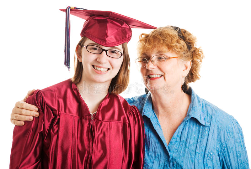 High School Graduate and Supportive Mom royalty free stock photos