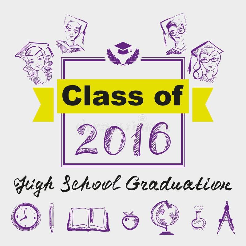High school graduation. Class of 2016. Illustration in vector format royalty free illustration