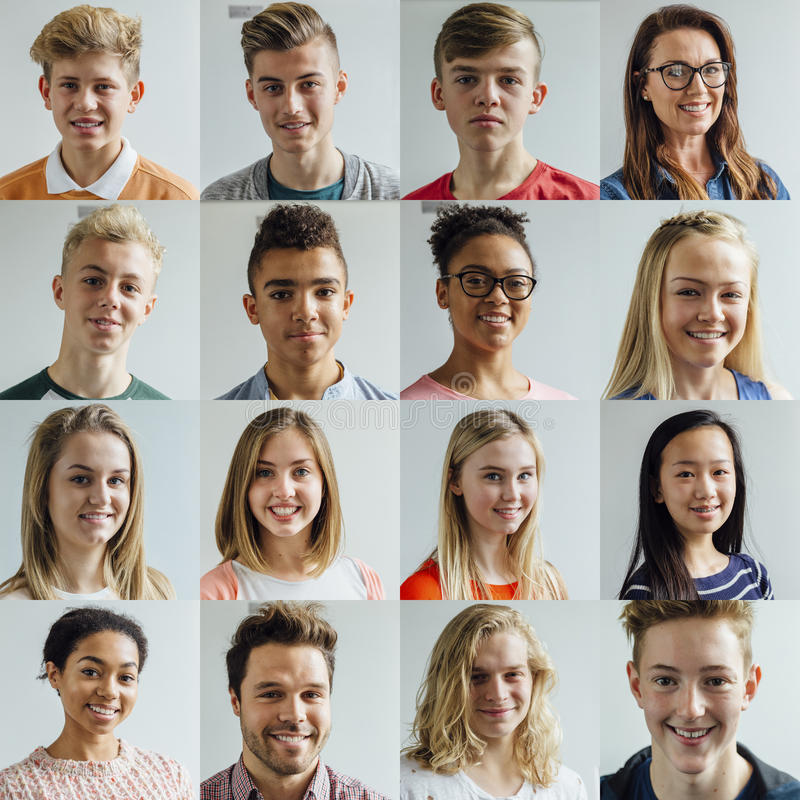 High School Headshot Collage royalty free stock photography