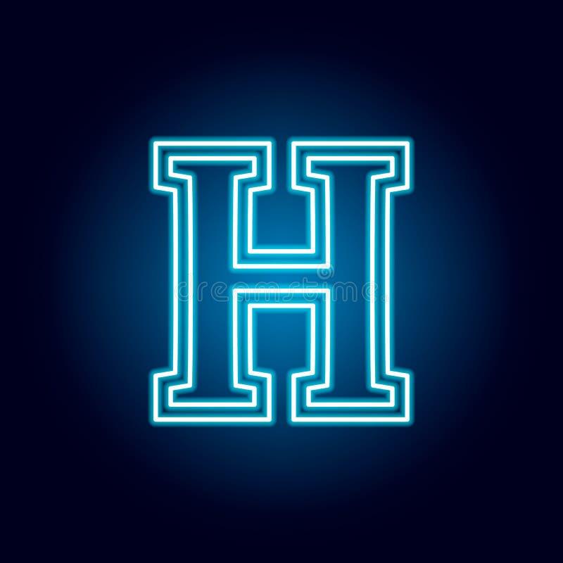 High School, lettera, icona del profilo dell'emblema nello stile al neon elementi della linea icona dell'illustrazione di istruzi royalty illustrazione gratis