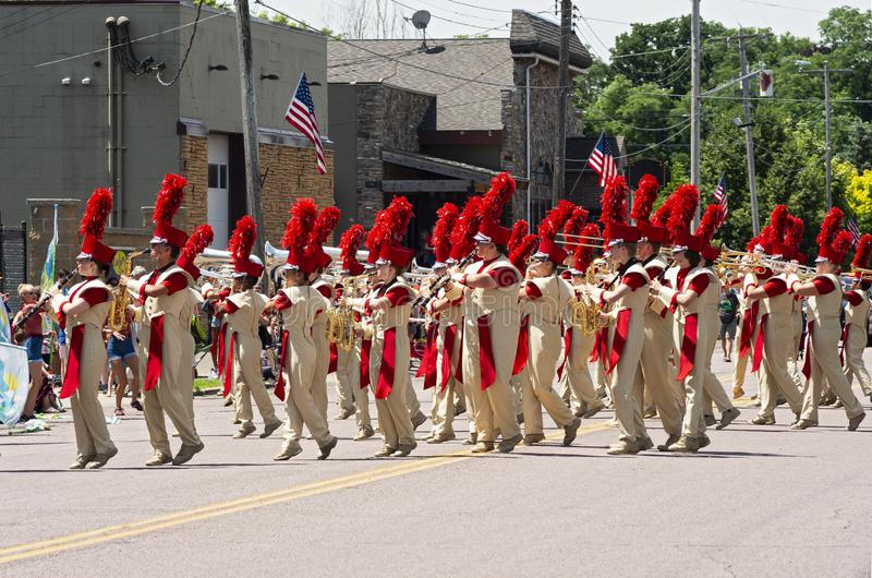 High School Marching Band at Mendota Parade. Mendota, Minnesota/USA - July 13, 2019: The Sibley High School Marching Band performs in the street at annual royalty free stock image