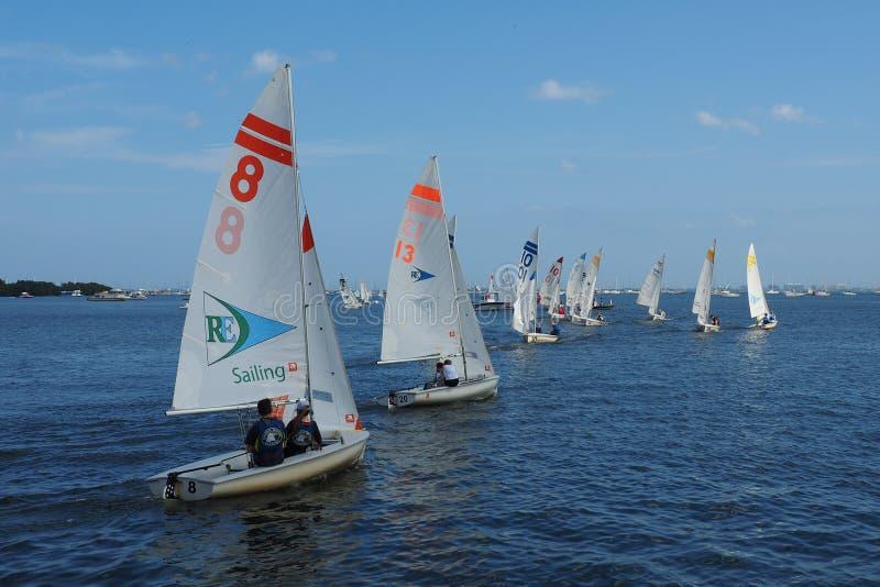 High School Regatta in Biscayne-Bucht vor Miami, Florida stockfoto