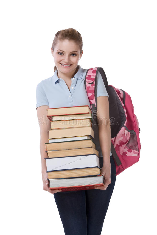 High school schoolgirl student with stack books royalty free stock images