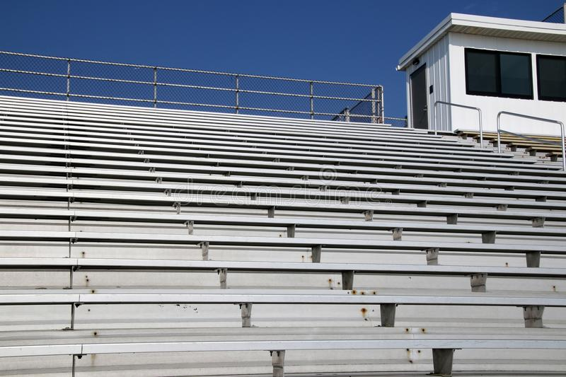 The high school stadium is empty, the fans will be there soon stock images