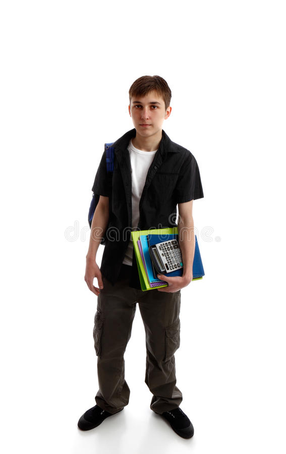 High school student. Carrying books and equipmant. White background royalty free stock photo