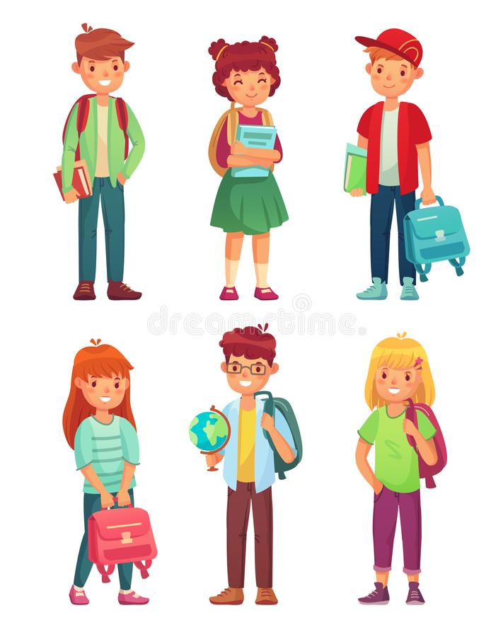 High school students. Kids pupils with globe, books and backpack. Schools boy and girl pupil characters vector set stock illustration