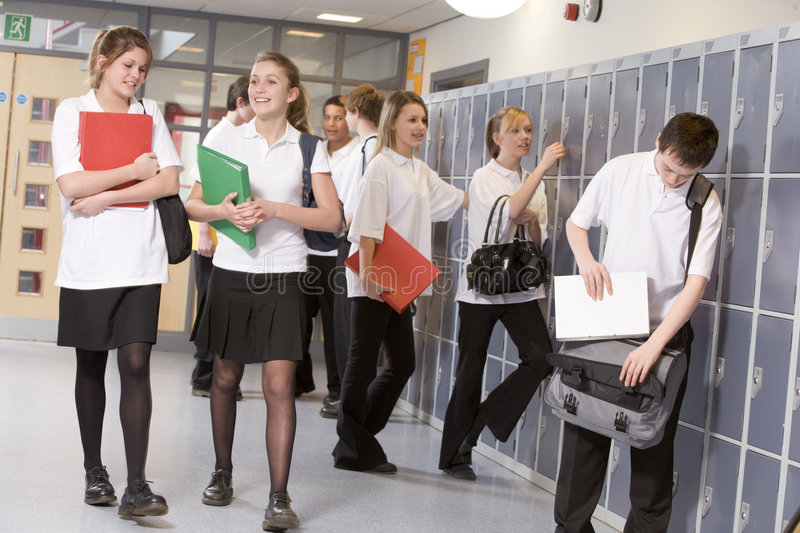 High school students by lockers royalty free stock photo