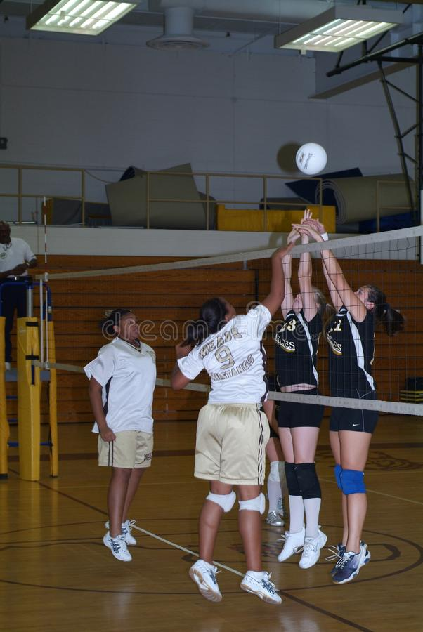 High school volleyball game stock photography