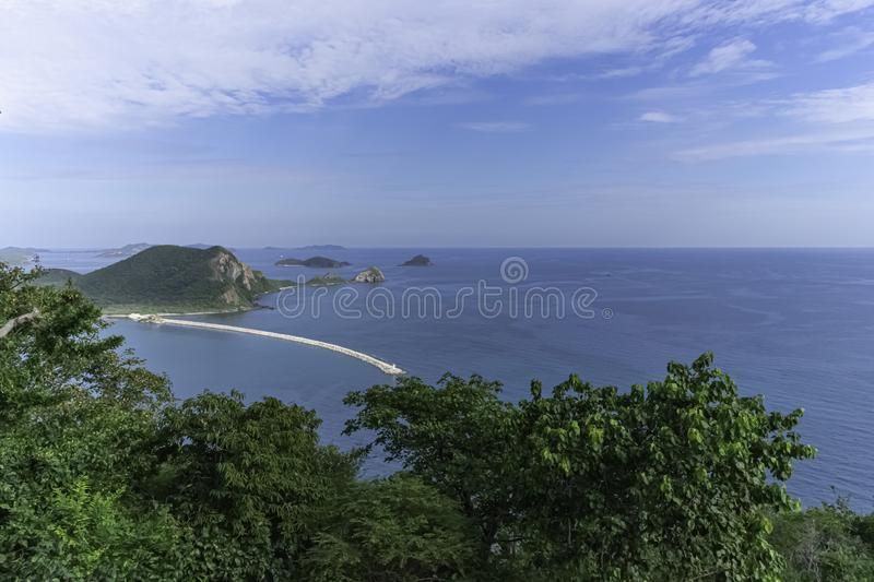 Sea view, high view on daytime. Sea view, mountain view, high day view Is a beautiful view royalty free stock image