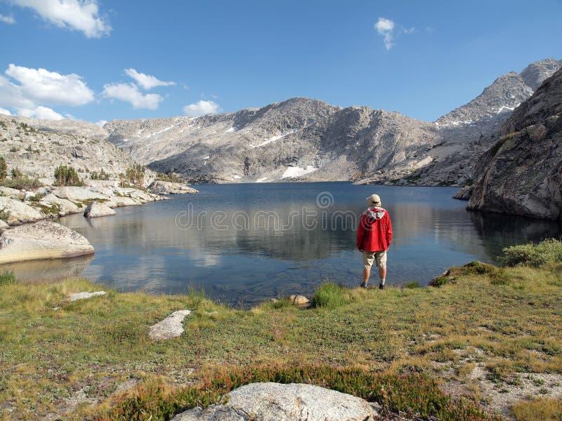 High Sierra Lake Hiker Stock Photo
