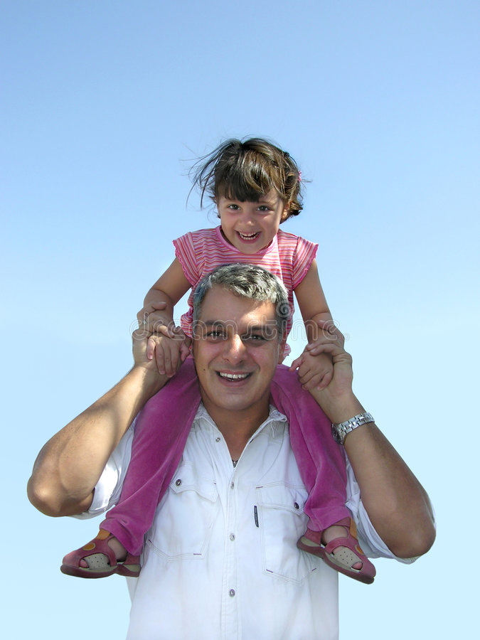High in the sky. Father and daughter playing
