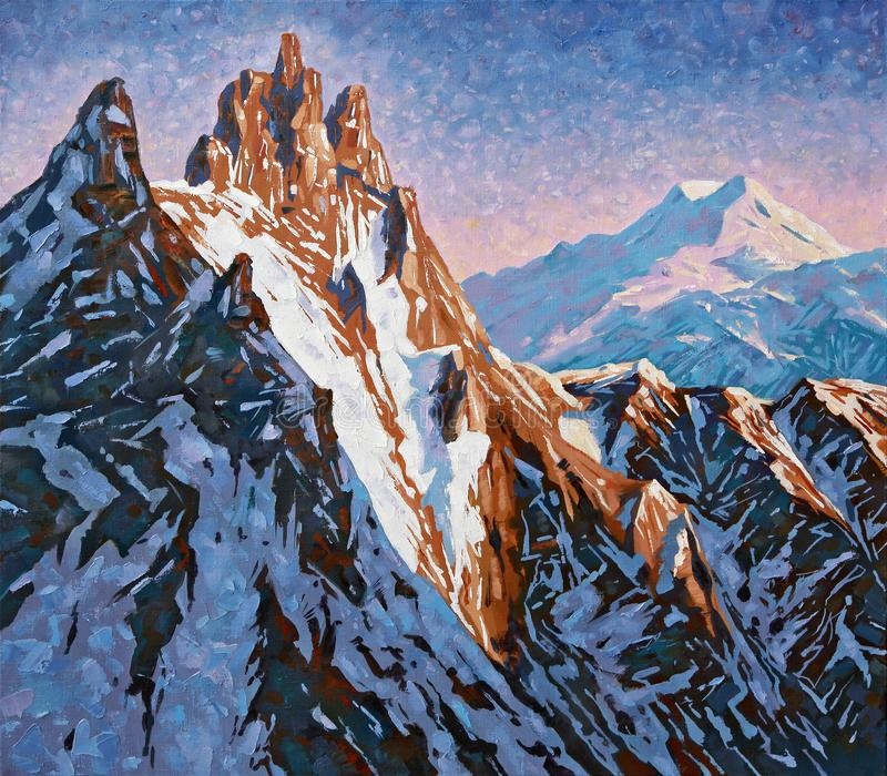 Mountain peaks of the Caucasus at the early dawn. Artwork vector illustration
