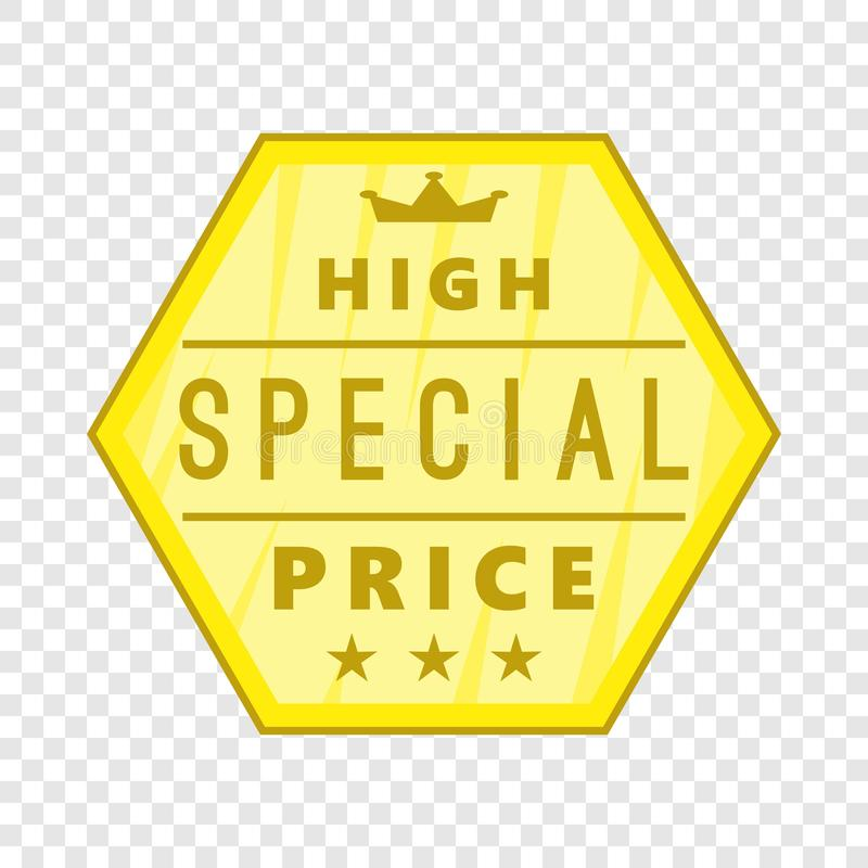 High special price label icon, cartoon style. High special price label icon. Cartoon illustration of high special price label vector icon for web royalty free illustration