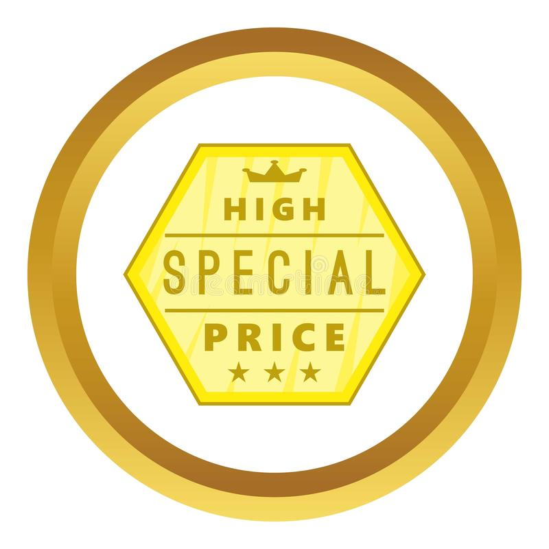 High special price label icon. In golden circle, cartoon style isolated on white background stock illustration