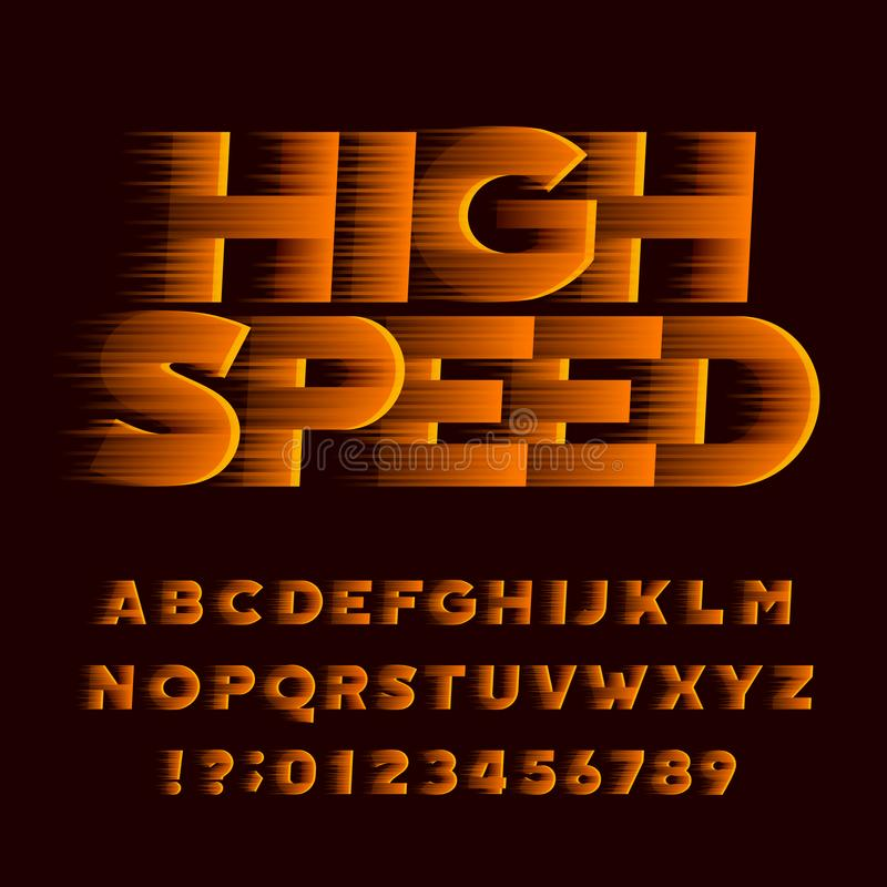 High speed alphabet font. Wind effect oblique type letters and numbers. Stock vector typeface royalty free illustration