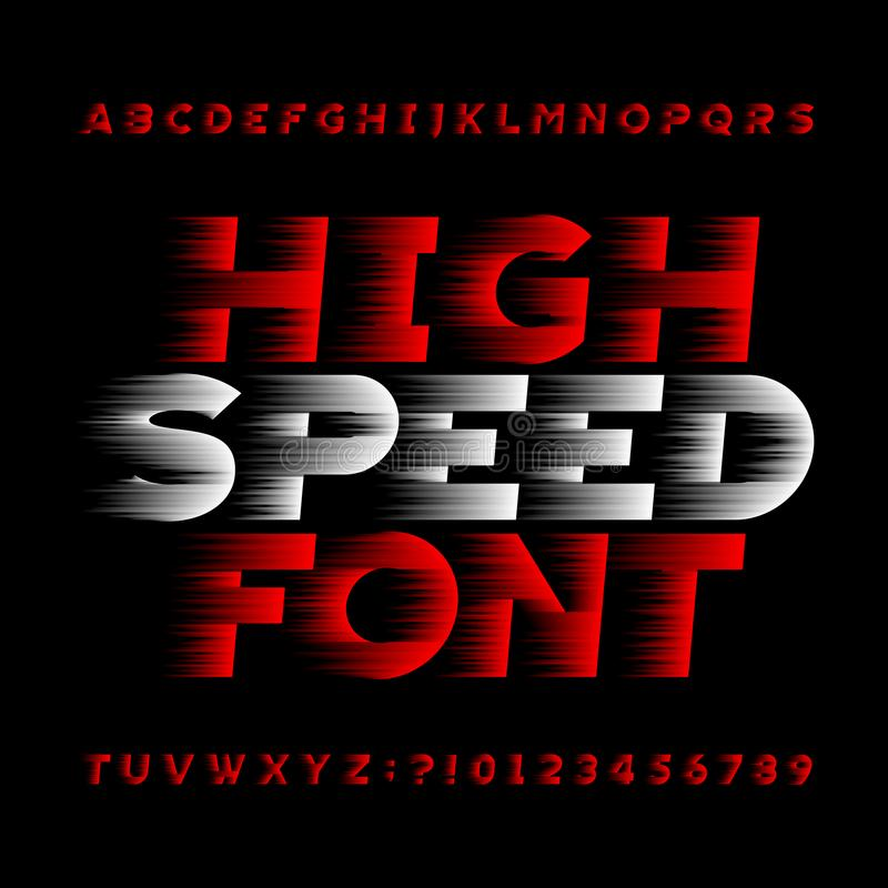 High speed alphabet vector font. Wind effect type letters and numbers on a black background. Stock vector typeface for your headers or any typography design royalty free illustration