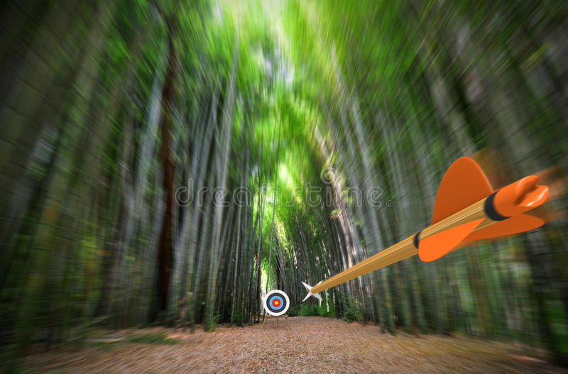 High speed arrow flying through blurred bamboo forest with archery target in focus, part photo, part 3D rendering. Archery shooting concept of the point of view stock images