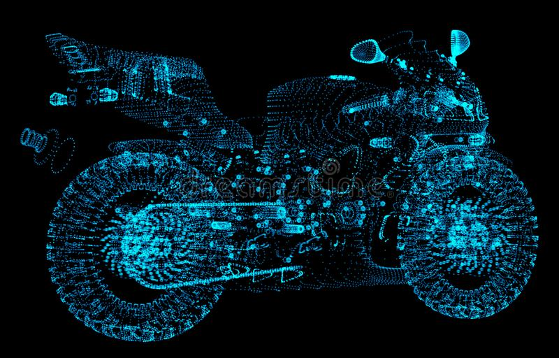High speed concept. Sport motorbike in the form dots on dark space, consisting of points. royalty free illustration