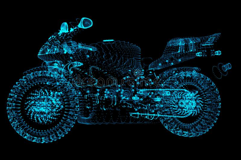 High speed concept. Sport motorbike in the form dots on dark space, consisting of points. vector illustration