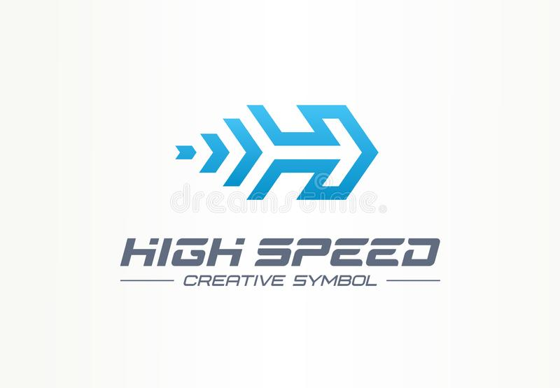 High speed creative sport symbol concept. Power accelerate race in arrow growth abstract business logo. Rocket forward. Next movement process icon. Corporate royalty free illustration