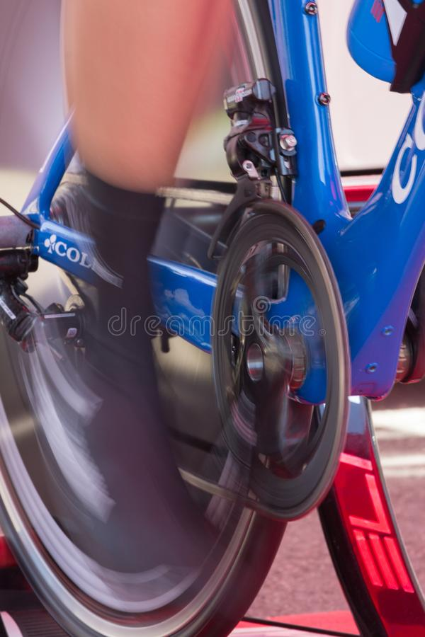 High speed cyclist warmingup royalty free stock photo