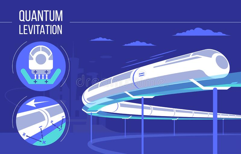 High speed futuristic quantum levitation train. vector illustration. Future express railroad and transport design vector illustration