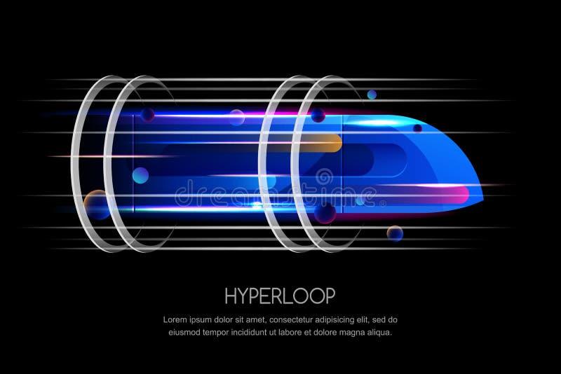 High speed futuristic train, hyperloop, dynamic illustration. Future express transport trendy design concept vector illustration