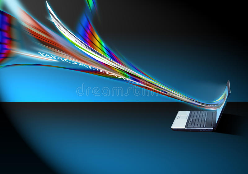 High Speed Internet. Internet and broadband flowing into PC laptop at high connection speed vector illustration