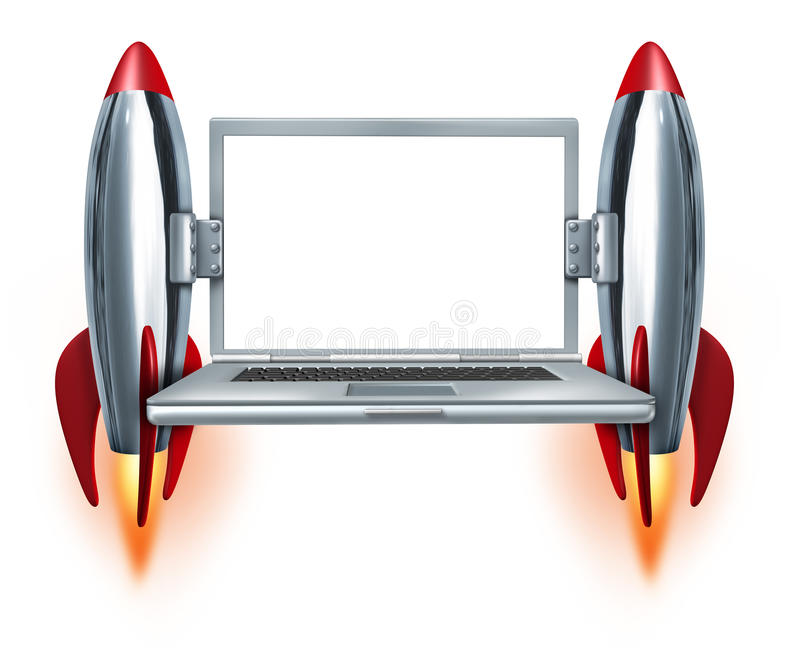 High Speed Internet. Technology symbol with a blank laptop and two rocket boosters blasting off as a concept of fast mobility computing and quick technical stock illustration