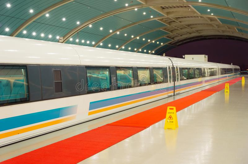 High-speed magnetic levitation train stock images