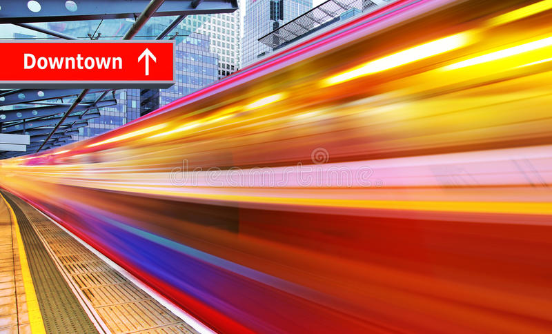High speed metro train. Background of the high-speed train with motion blur outdoor royalty free stock images